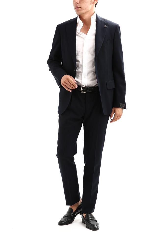 【GABRIELE PASINI / ガブリエレ パジーニ】 MONTECARLO モンテカルロ カルゼ生地 3ボタン段返り ワンプリーツ スーツ NAVY (ネイビー・860) 2017秋冬新作
