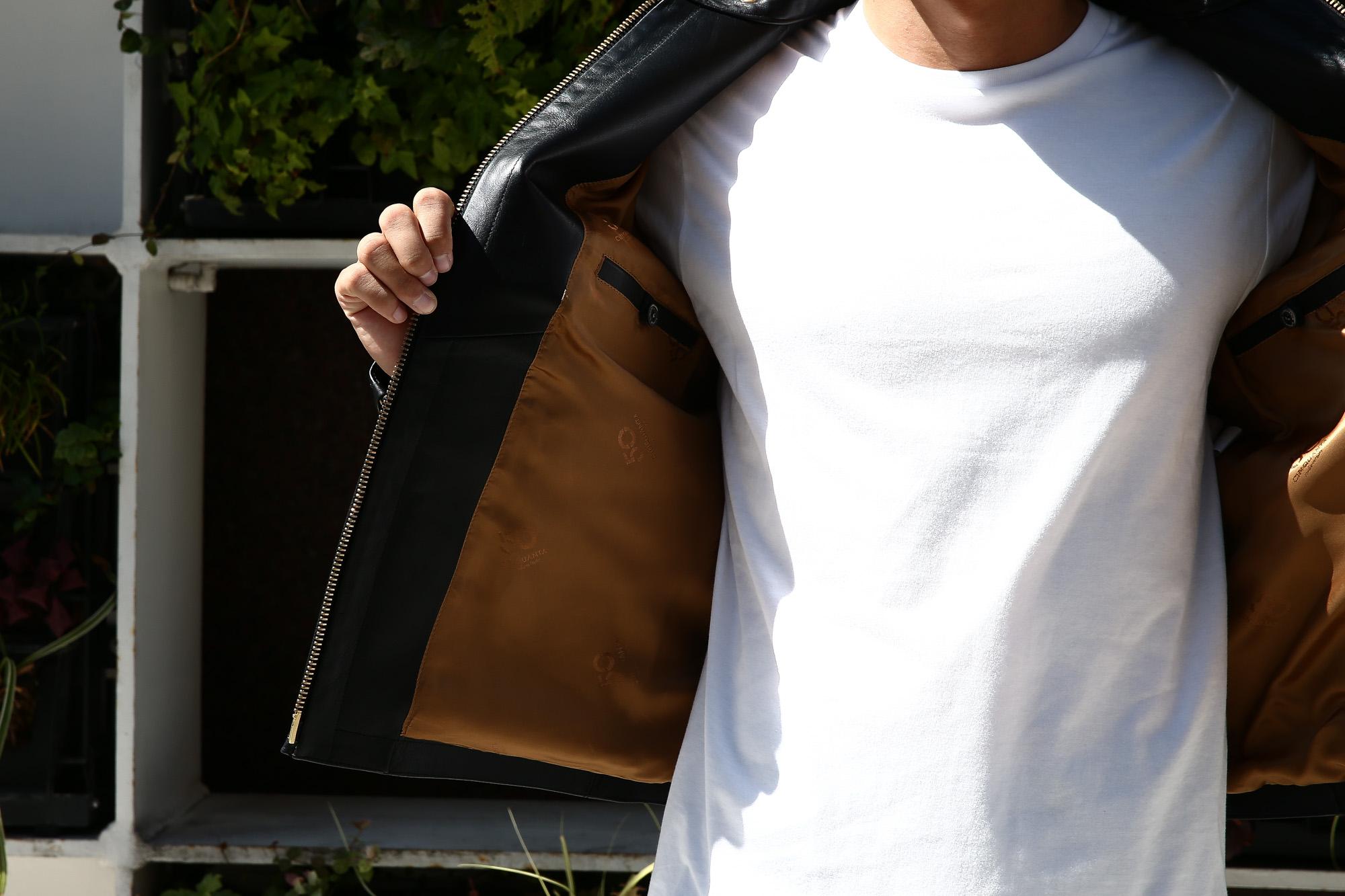 【CINQUANTA // チンクアンタ】 6621/1 STAND COLLAR RIDERS CAVALLO (スタンド カラー ジャケット) HORSE LEATHER ホースレザー シングル ライダース ジャケット BLACK (ブラック・999) Made in italy (イタリア製) 2017 秋冬新作 コーディネートスタイル 。cinquanta チンクアンタ レザージャケット 愛知 名古屋 Alto e Diritto アルト エ デリット