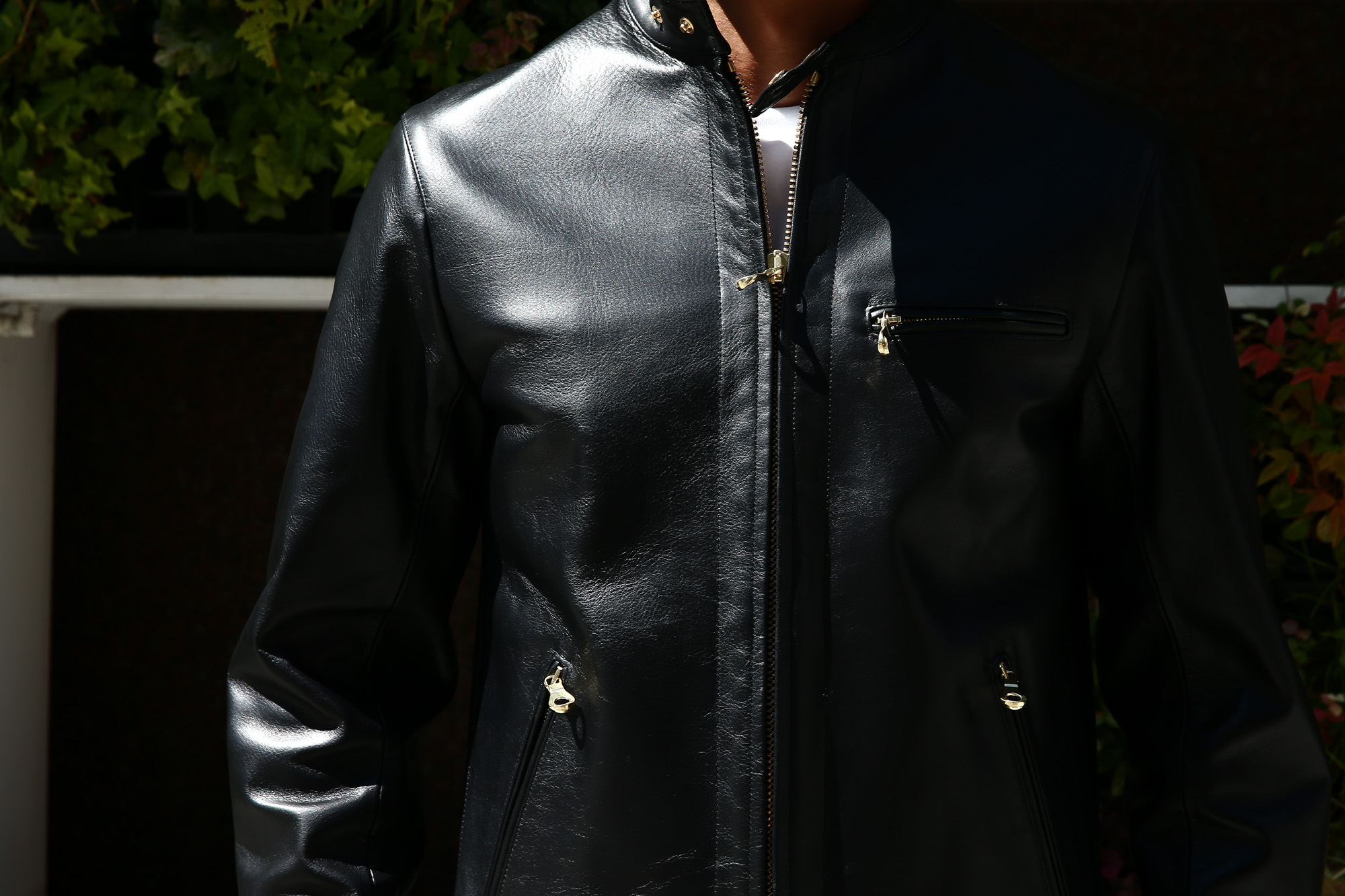 【CINQUANTA // チンクアンタ】 6621/1 STAND COLLAR RIDERS CAVALLO (スタンド カラー ジャケット) HORSE LEATHER ホースレザー シングル ライダース ジャケット BLACK (ブラック・999) Made in italy (イタリア製) 2017 秋冬新作 コーディネートスタイル 。cinquanta チンクアンタ レザージャケット 愛知 名古屋 ZODIAC ゾディアック