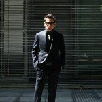 【GABRIELE PASINI /// ガブリエレ パジーニ】 MONTECARLO モンテカルロ カルゼ生地 3ボタン段返り ワンプリーツ スーツ NAVY (ネイビー・860) 2017秋冬新作のイメージ