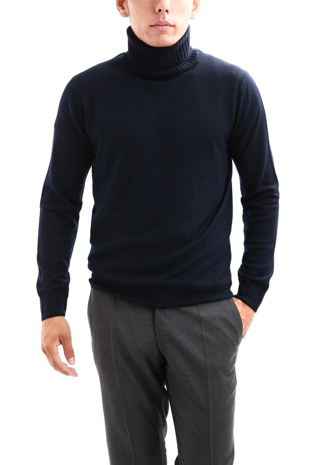 【Cruciani / クルチアーニ】 Turtle Neck Sweater (タートルネックセーター) WOOL 100% 27ゲージ&9ゲージ ハイゲージウールニット セーター NAVY (ネイビー・8800) made in italy (イタリア製) 2017 秋冬新作