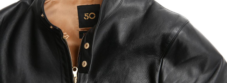 CINQUANTA(チンクアンタ) 6621/1 STAND COLLAR RIDERS CAVALLO (スタンドカラージャケット) HORSE LEATHER(ホースレザー) シングルライダースジャケット BLACK (ブラック・999) Made in italy (イタリア製) 【2 months 着用 Staff私物】のイメージ