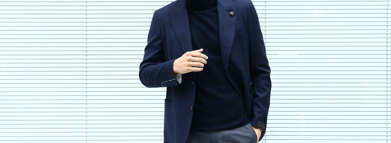 【GABRIELE PASINI / ガブリエレ パジーニ】 JETSET (ジェットセット) 3ボタン段返り サキソニーウール ストライプジャケット NAVY (ネイビー・210) 2017 秋冬新作のイメージ