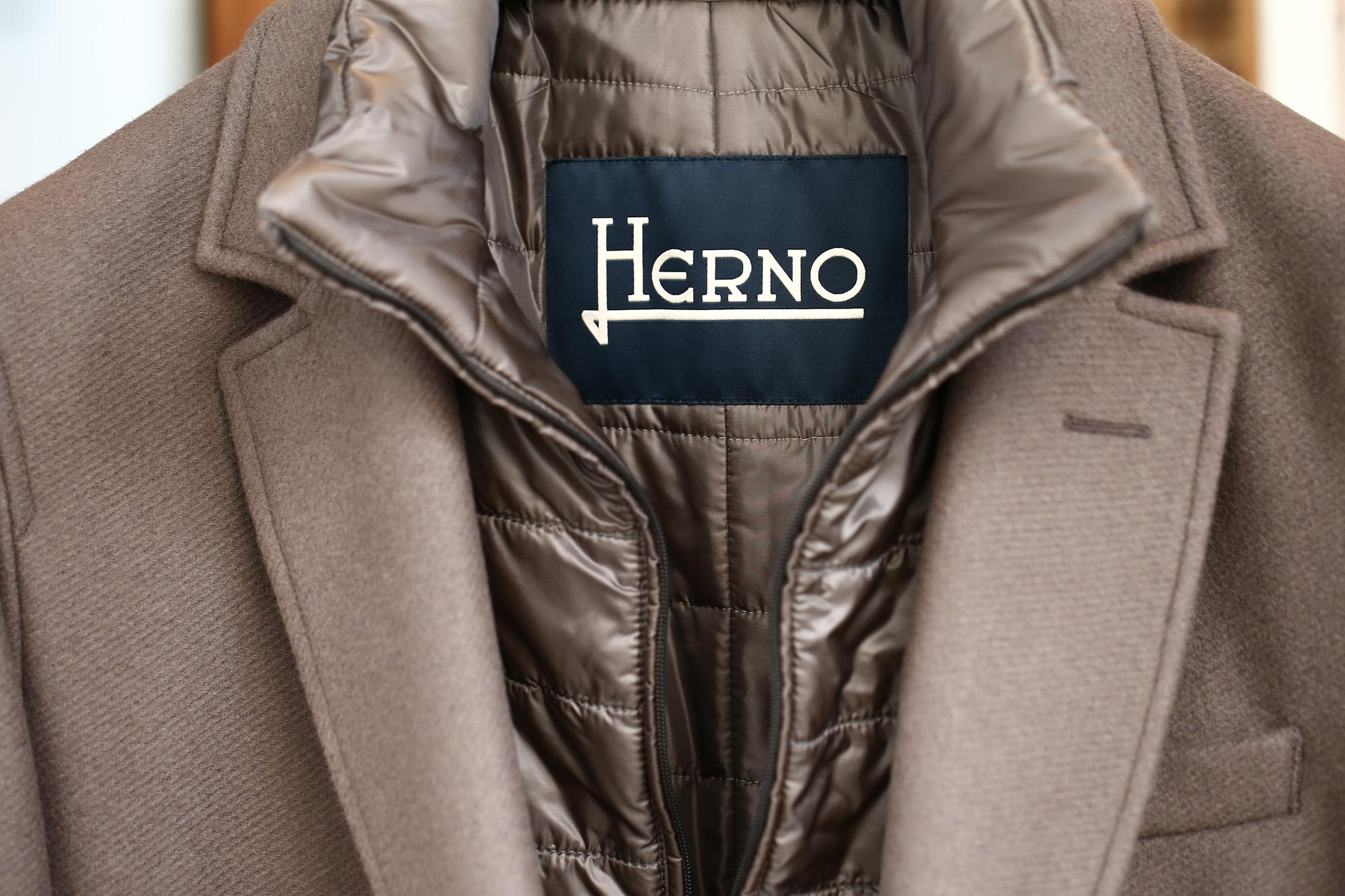 HERNO(ヘルノ) CA0045U Chester coat チェスターコート LANA DIAGONALE NYLON ULTRALIGHT 中綿入り ウールチェスターコート LIGHT BROWN (ライトブラウン・2700) Made in italy (イタリア製) 2017 秋冬新作 愛知 名古屋 ZODIAC ゾディアック herno ヘルノ ダウンコート ビジネススタイル