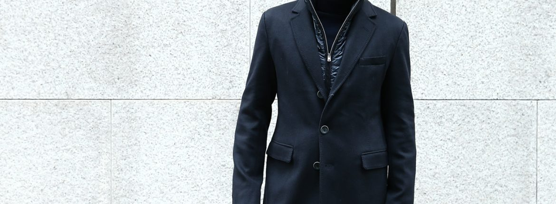 【HERNO / ヘルノ】 CA0058U Cashmere Chester coat カシミア チェスターコート PIACENZA ピアツェンツァ CASHMERE DROPGLIDE NYLON ULTRALIGHT 中綿入り カシミア チェスターコート NAVY (ネイビー・9200) Made in italy (イタリア製) 2017 秋冬新作のイメージ