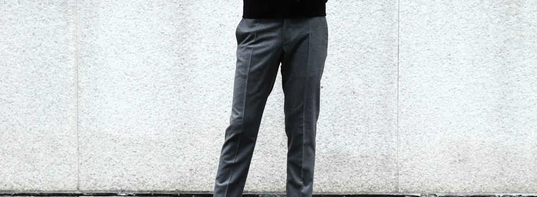【INCOTEX / インコテックス】 N35 SLIM FIT (1NT035) S120'S HIGH COMFORT FLANNEL ストレッチ フランネル ウール スラックス MEDIUM GRAY (ミディアムグレー・910) 2017 秋冬新作のイメージ