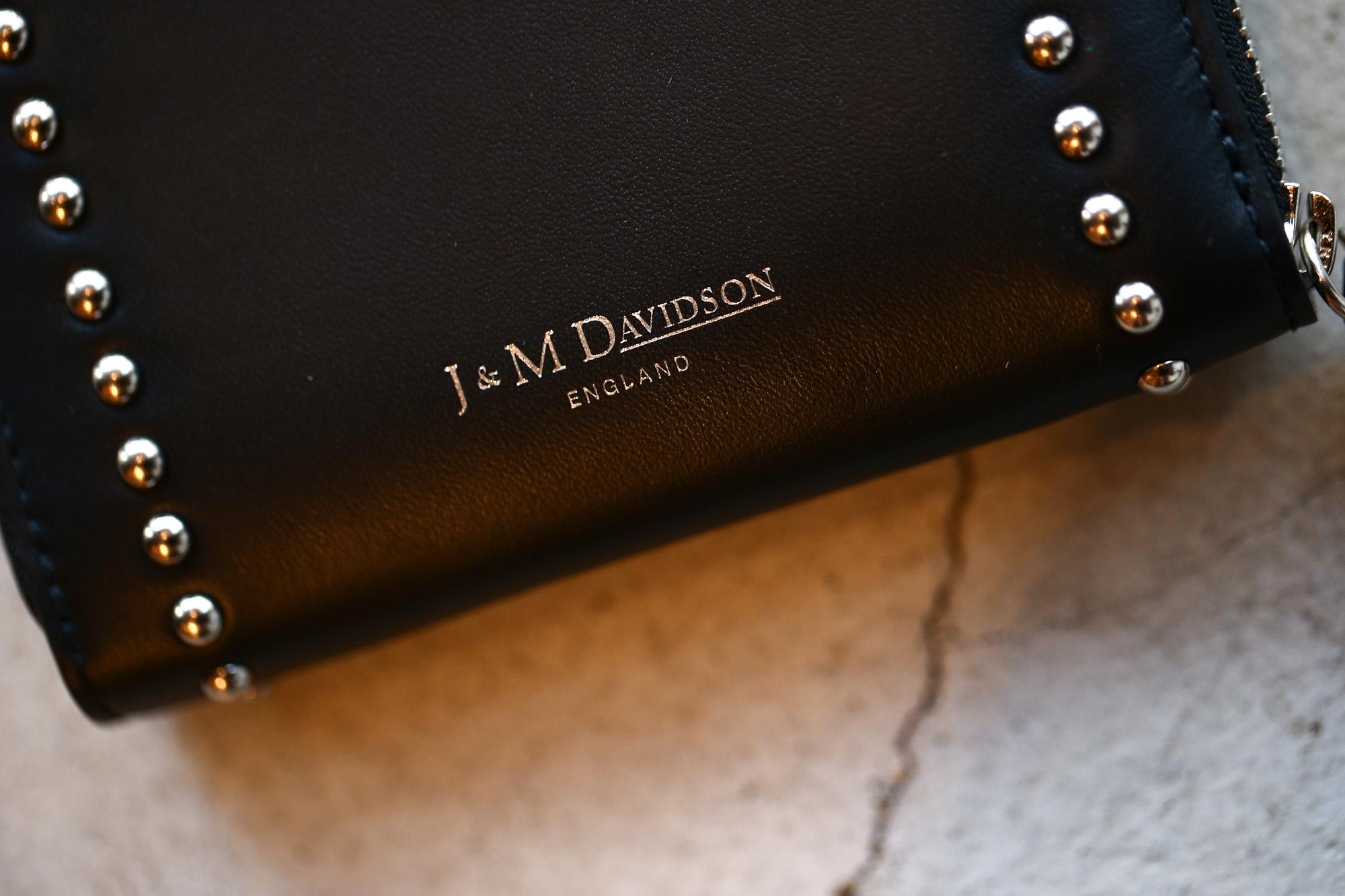 J&M DAVIDSON (ジェイアンドエムデヴィッドソン) JET SET COLLECTION (ジェットセット コレクション) SMALL ZIP PURSE WITH STUDS (スモール ジップ パース ウィズ スタッズ) 10131N CALF LEATHER (カーフレザー) 折財布 ショートウォレット BLACK (ブラック・999) Made in spain (スペイン製) 2017 秋冬新作 jmdavidson 愛知 名古屋 Alto e Diritto アルト エ デリット