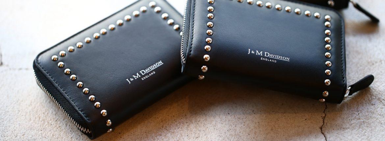 J&M DAVIDSON (ジェイアンドエムデヴィッドソン) JET SET COLLECTION (ジェットセット コレクション) SMALL ZIP PURSE WITH STUDS (スモール ジップ パース ウィズ スタッズ) 10131N CALF LEATHER (カーフレザー) 折財布 ショートウォレット BLACK (ブラック・999) Made in spain (スペイン製) 2017 秋冬新作のイメージ