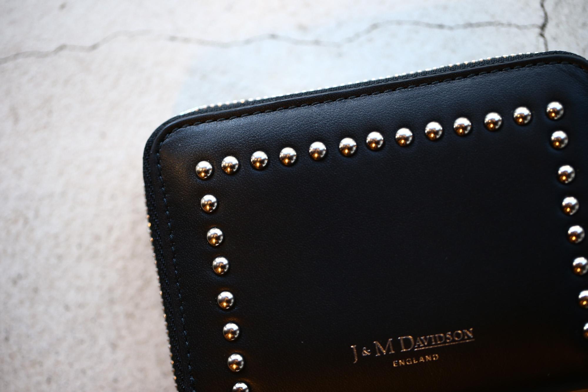 J&M DAVIDSON (ジェイアンドエムデヴィッドソン) JET SET COLLECTION (ジェットセット コレクション) SMALL ZIP PURSE WITH STUDS (スモール ジップ パース ウィズ スタッズ) 10131N CALF LEATHER (カーフレザー) 折財布 ショートウォレット BLACK (ブラック・999) Made in spain (スペイン製) 2017 秋冬新作 jmdavidson 愛知 名古屋 ZODIAC ゾディアック