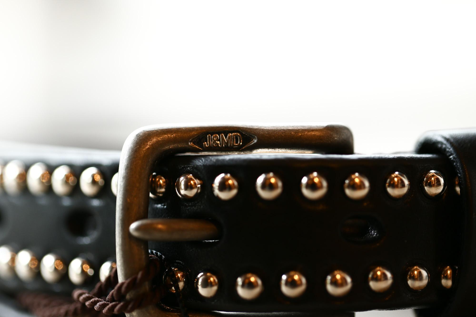 J&M DAVIDSON (ジェイアンドエムデヴィッドソン) NARROW SIDE STUDS BELT 25MM (ナロー サイド スタッズ ベルト 25mm) COWHIDE LEATHER (カウハイドレザー) スタッズベルト BLACK (ブラック・999) Made in italy (イタリア製) 2017 秋冬新作 jmdavidson jandmdavidson ジェイエム 愛知 名古屋 Alto e Diritto アルト エ デリット ベルト