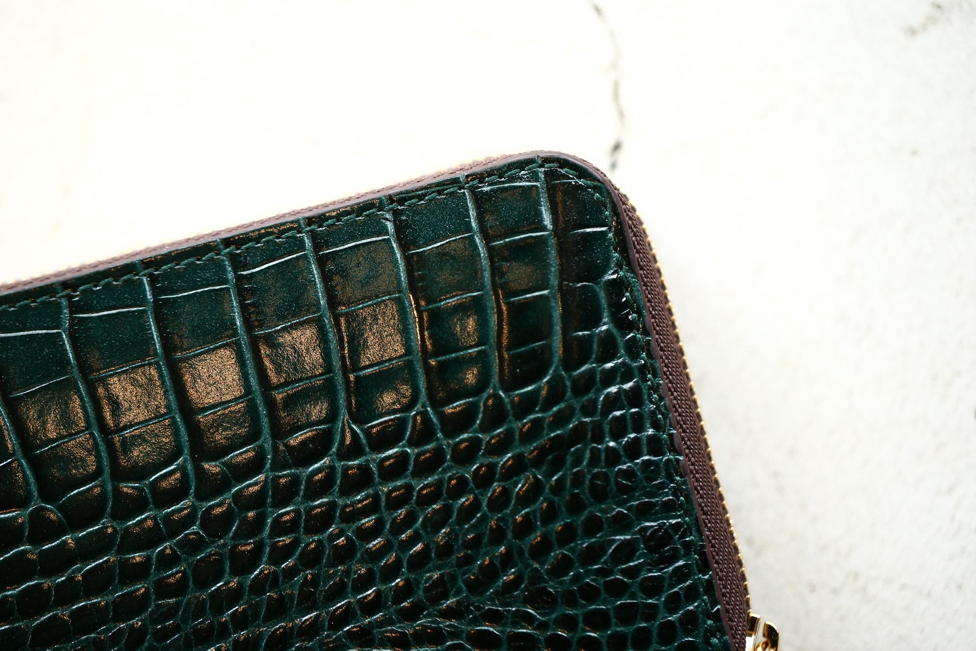 J&M DAVIDSON (ジェイアンドエムデヴィッドソン) SMALL ZIP PURSE (スモール ジップ パース) 7444 SMALL MOCK CROC (クロコダイル型押し) 折財布 ショートウォレット BOTTLE GREEN / NIGTH (ボトルグリーン / ナイト・4800) Made in spain (スペイン製) 2017 秋冬新作 jandmdavidosn smallzippurse サイフ ウォレット ジェイエムデヴィッドソン 愛知 名古屋 Alto e Diritto アルト エ デリット