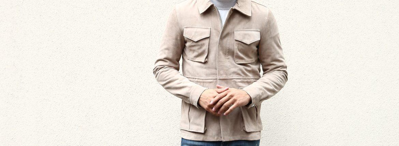 【Radice / ラディーチェ】 M-65 Suede Leather Jacket スエードラムナッパレザー ミリタリージャケット GRIGIO (ベージュ) MADE IN ITALY (イタリア製) 2017 秋冬新作のイメージ