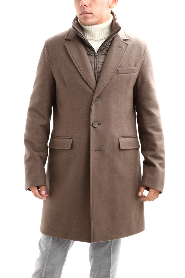 【HERNO / ヘルノ】 CA0045U Chester coat チェスターコート LANA DIAGONALE NYLON ULTRALIGHT 中綿入り ウールチェスターコート LIGHT BROWN (ライトブラウン・2700) Made in italy (イタリア製) 2017 秋冬新作