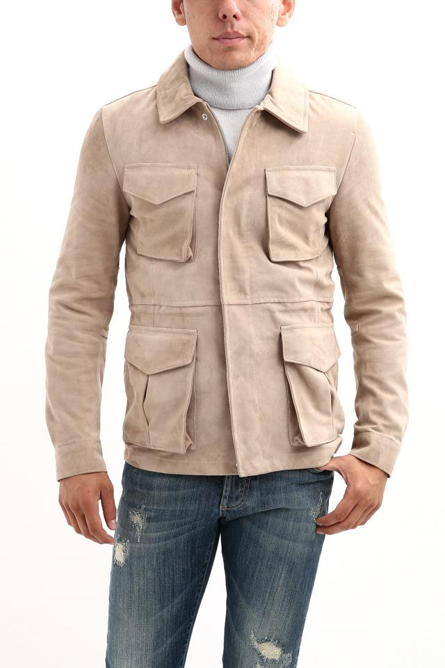 【Radice // ラディーチェ】 M-65 Suede Leather Jacket スエードラムナッパレザー ミリタリージャケット GRIGIO (ベージュ) MADE IN ITALY (イタリア製) 2017 秋冬新作