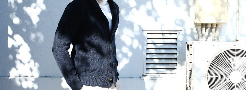 【Settefili Cashmere / セッテフィーリ カシミア】 Shawl Collar Cardigan (ショールカラーカーディガン) ウール カシミア ローゲージ ニット カーディガン NAVY (ネイビー・MC041) made in italy (イタリア製) 2017秋冬新作のイメージ