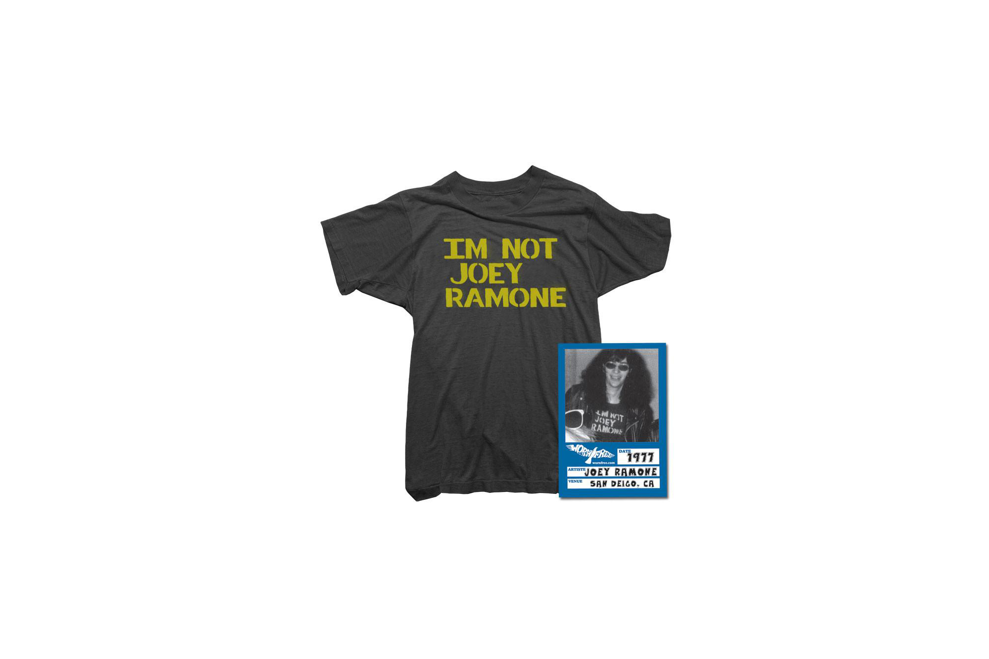WORN FREE(ウォーンフリー) IM NOT JOEY RAMONE RAMONES(ジョーイ・ラモーン ラモーンズ) 1977 SAN DEIGO.CA プリントTシャツ バンドTシャツ ロックTシャツ BLACK(ブラック) 2018春夏 wornfree ウォーンフリー 愛知 名古屋 ZODIAC ゾディアック ramonesラモーンズ ラモンズ bandtee rocktee