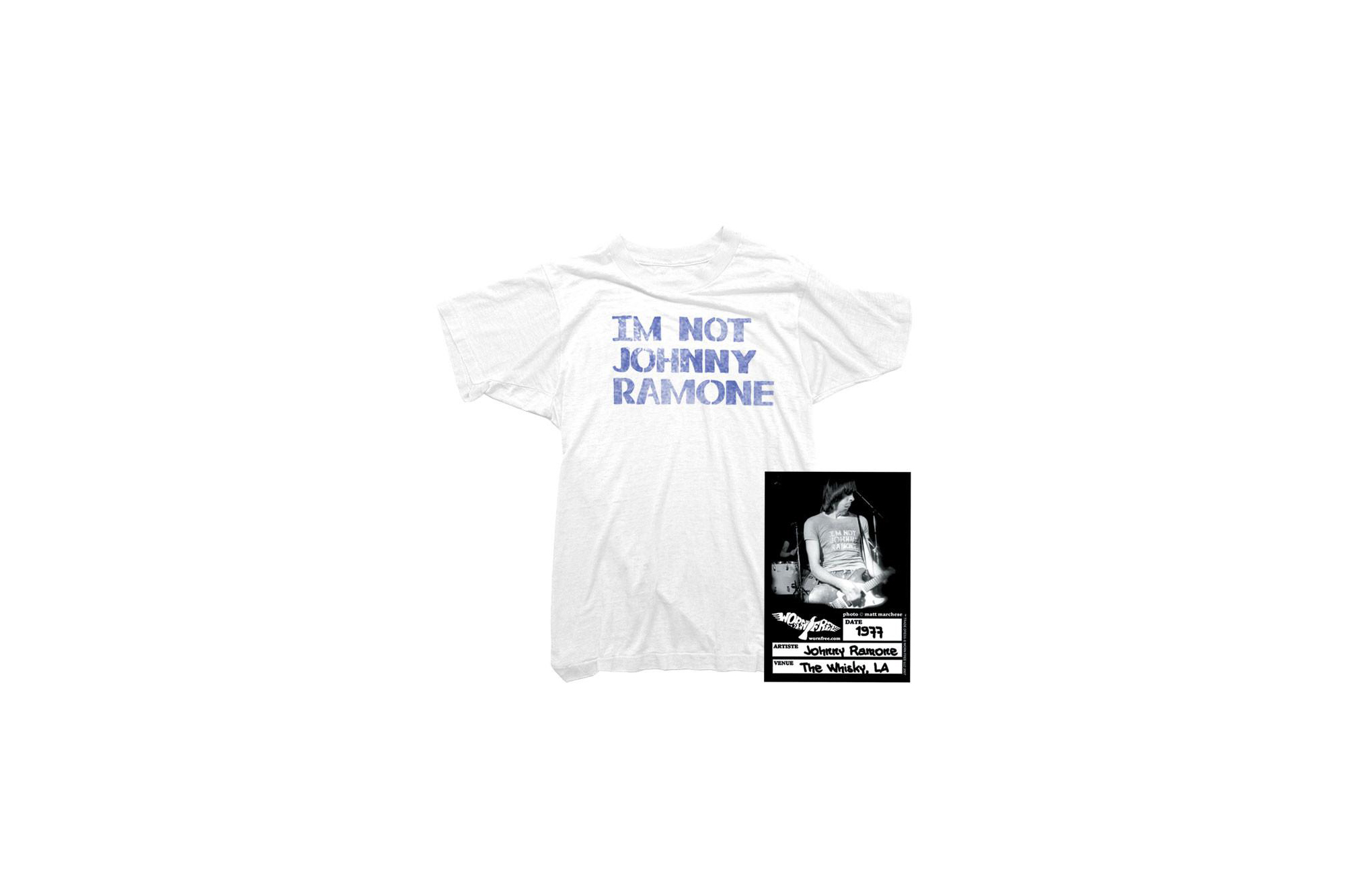 WORN FREE (ウォーンフリー) IM NOT JOHNNY RAMONE RAMONES (ジョニー・ラモーン ラモーンズ) 1977 THE WHISKY.LA プリントTシャツ バンドTシャツ ロックTシャツ WHITE(ホワイト) MADE IN USA (アメリカ製) 2018春夏 wornfree ウォーンフリー 愛知 名古屋 Alto e Diritto アルト エ デリット ramones ラモーンズ bandtee rocktee