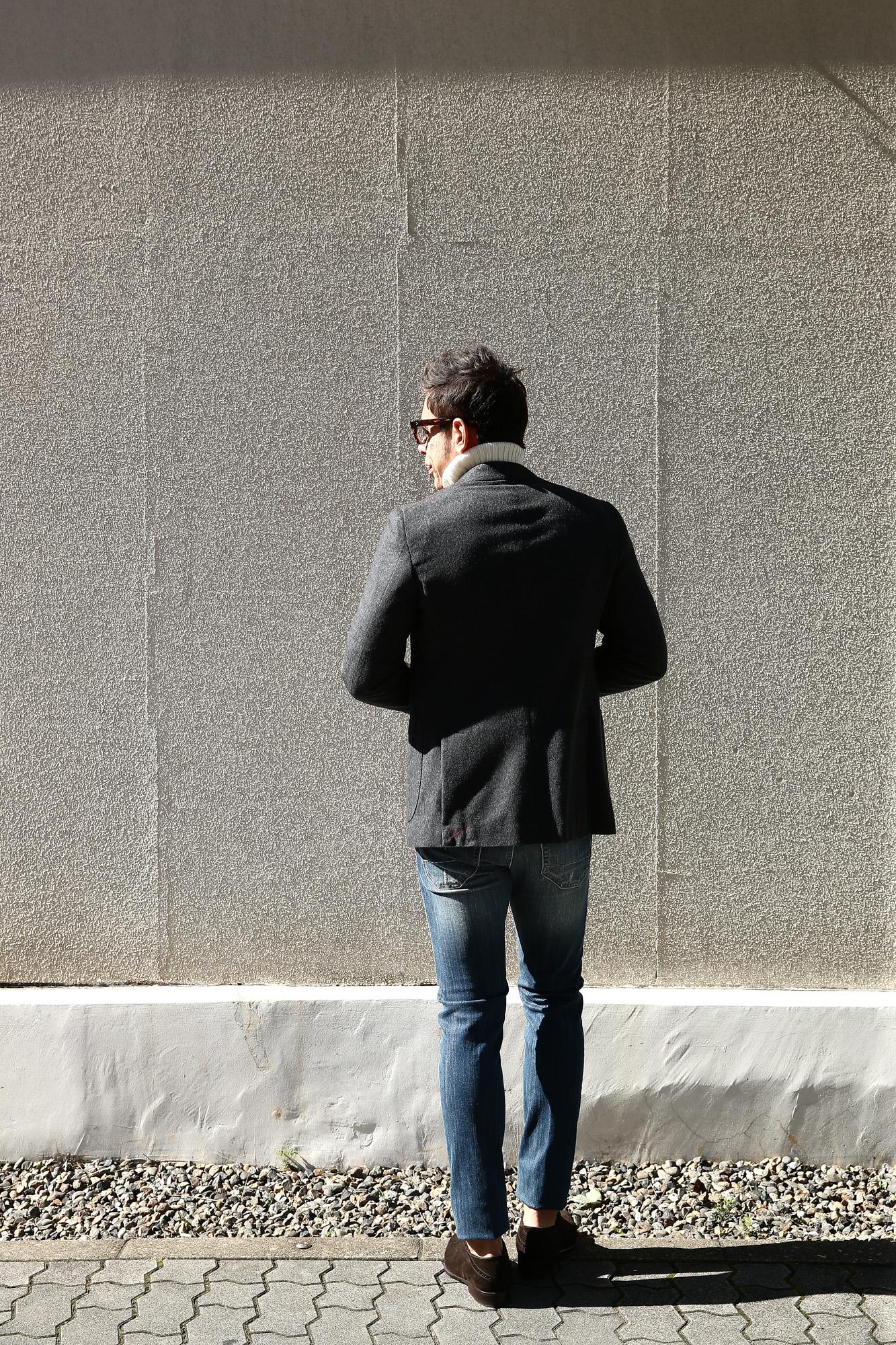 【ISAIA // イザイア】 SAILOR (セイラー) AQUA MOLESKIN ウールカシミア モールスキン フランネル アンコン 3Bジャケット MEDIUM GRAY (ミディアムグレー・970) Made in italy (イタリア製) 2017 秋冬新作 isaia 愛知 名古屋 ZODIAC ゾディアック