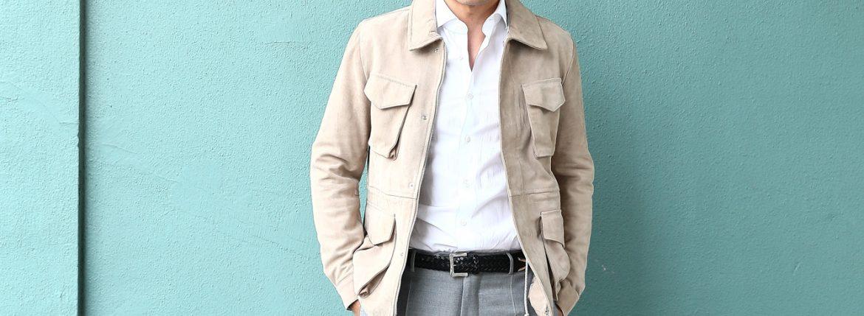 【Radice // ラディーチェ】 M-65 Suede Leather Jacket スエードラムナッパレザー ミリタリージャケット GRIGIO (ベージュ) MADE IN ITALY (イタリア製) 2017 秋冬新作のイメージ