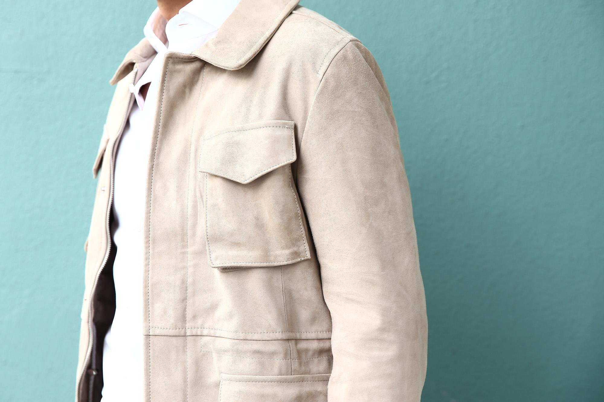 【Radice // ラディーチェ】 M-65 Suede Leather Jacket スエードラムナッパレザー ミリタリージャケット GRIGIO (ベージュ) MADE IN ITALY (イタリア製) 2017 秋冬新作 radice ラディーチェ 愛知 名古屋 Alto e Diritto アルト エ デリット