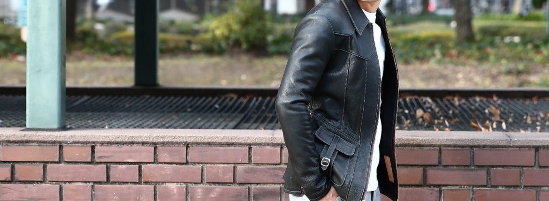 【South Paradiso Leather / サウスパラディソレザー】 East West イーストウエスト SMOKE(スモーク) Cow Hide Leather カウハイドレザー レザージャケット BLACK (ブラック) MADE IN USA (アメリカ製)のイメージ