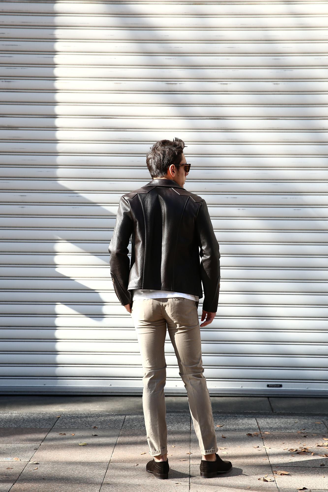 South Paradiso Leather(サウスパラディソレザー) East West イーストウエスト 【WINCHESTER //// ウィンチェスター】 Cow Hide Leather カウハイドレザー レザージャケット DARK BROWN(ダークブラウン) MADE IN USA(アメリカ製) のコーディネート画像、 愛知 名古屋 Alto e Diritto アルト エ デリット サウスパラディソ パラディソ レザー ヴィンテージ ビンテージ