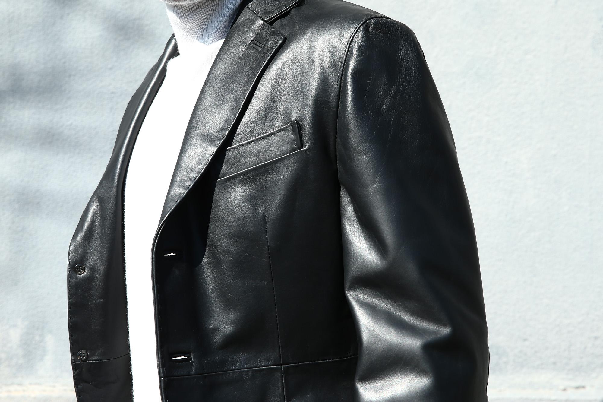 CINQUANTA (チンクアンタ) H613 SINGLE TAILORED JACKET CAVALLO (シングル テーラード ジャケット) ホースレザー ジャケット BLACK (ブラック・999) Made in italy (イタリア製) 2018 春夏新作 cinquanta チンクアンタ レザージャケット ジャケット 愛知 名古屋 Alto e Diritto アルト エ デリット