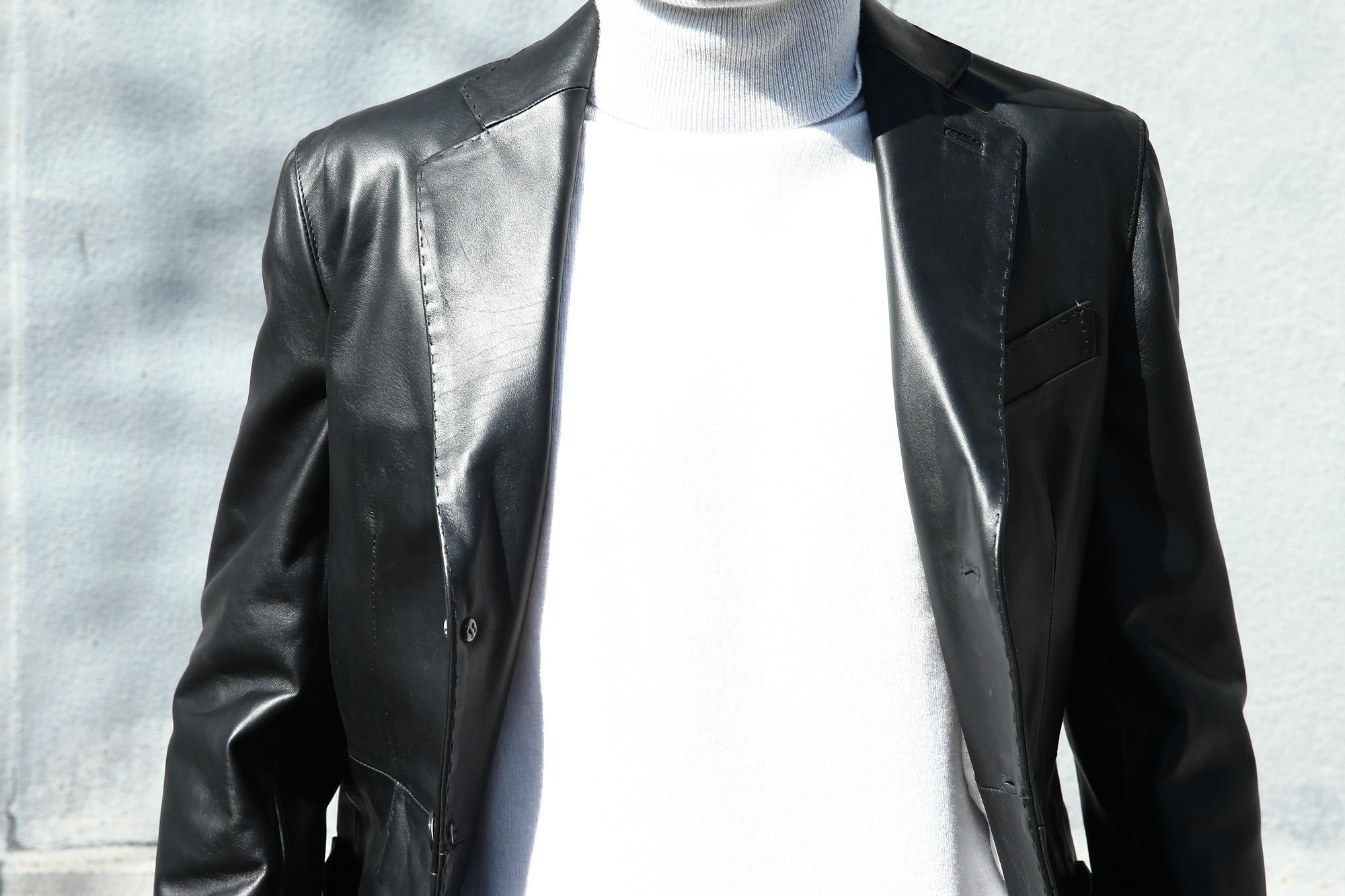 CINQUANTA (チンクアンタ) H613 SINGLE TAILORED JACKET CAVALLO (シングル テーラード ジャケット) ホースレザー ジャケット BLACK (ブラック・999) Made in italy (イタリア製) 2018 春夏新作 cinquanta チンクアンタ レザージャケット ジャケット 愛知 名古屋 ZODIAC ゾディアック