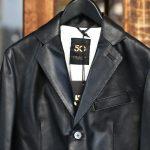 CINQUANTA (チンクアンタ) H613 SINGLE TAILORED JACKET CAVALLO (シングル テーラード ジャケット) ホースレザー ジャケット BLACK (ブラック・999) Made in italy (イタリア製) 2018 春夏新作のイメージ