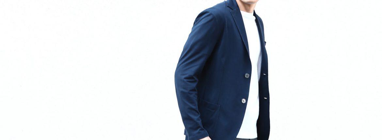 【Cruciani / クルチアーニ】 Cotton Jersey Jacket (コットンジャージージャケット) Micro Smooth Cotton マイクロスムースコットン ニット ジャケット NAVY (ネイビー・10973) made in italy (イタリア製) 2018 春夏新作のイメージ
