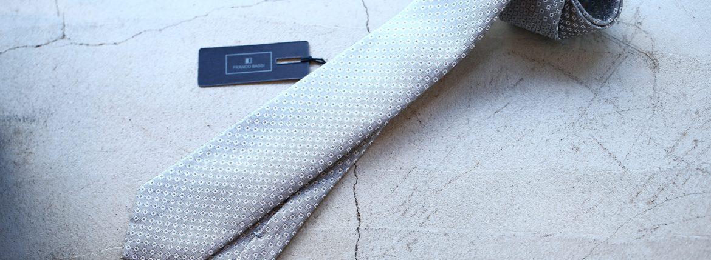 FRANCO BASSI (フランコバッシ) JACQUARD TIE (ジャガードタイ) シルク ジャガード 小紋柄 ネクタイ SILVER (シルバー・4) Made in italy (イタリア製) 2018 春夏新作のイメージ