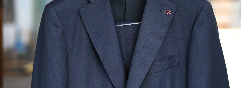 ISAIA (イザイア) GREGORY (グレゴリー) AQUA SPIDER (アクア スパイダー) 撥水 ストレッチ サマーウール 段返り3B スーツ NAVY (ネイビー・800) Made in italy (イタリア製) 2018 春夏新作のイメージ