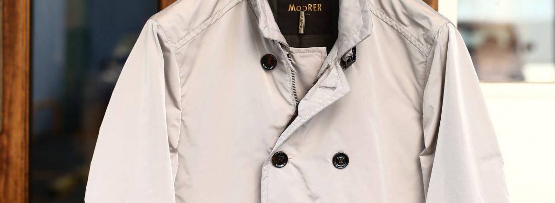MOORER (ムーレー) SC / MORANDI-KM (モランディ) ポリエステル ダブルブレスト スタンドカラー スプリング コート STUCCO (ベージュ) Made in italy (イタリア製) 2018 春夏新作のイメージ