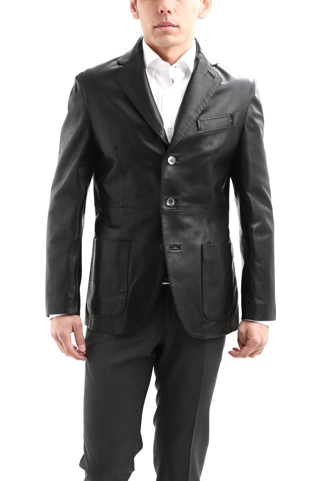 CINQUANTA (チンクアンタ) H613 SINGLE TAILORED JACKET CAVALLO (シングル テーラード ジャケット) ホースレザー ジャケット BLACK (ブラック・999) Made in italy (イタリア製) 2018 春夏新作