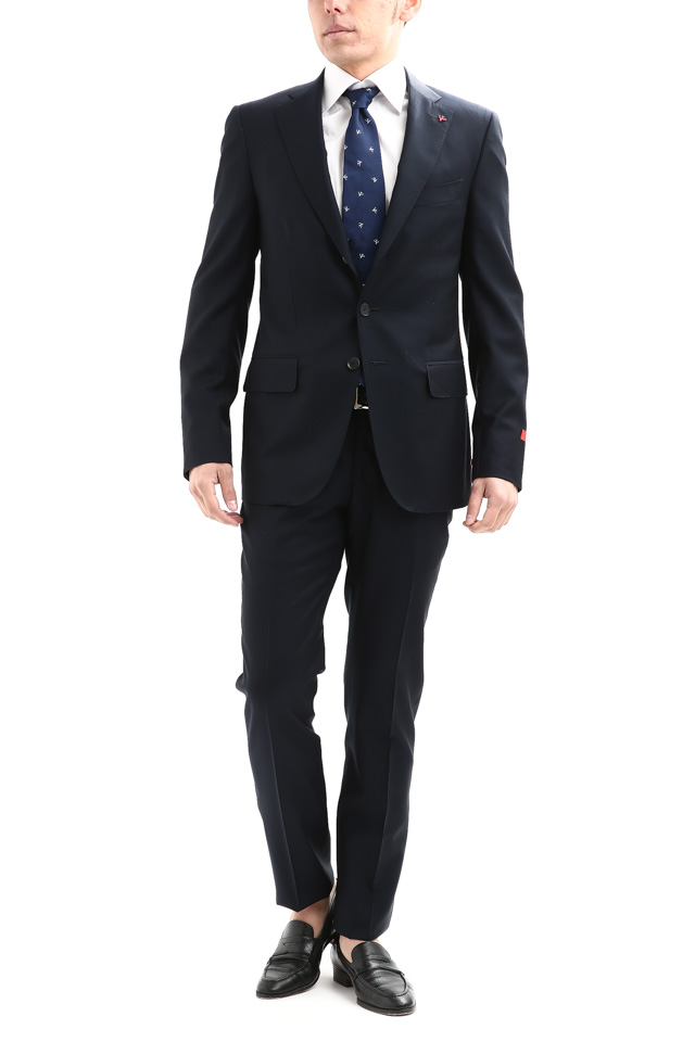 ISAIA (イザイア) 【GREGORY / グレゴリー】 AQUA SPIDER (アクア スパイダー) 撥水 ストレッチ サマーウール 段返り3B スーツ NAVY (ネイビー・800) Made in italy (イタリア製) 2018 春夏新作