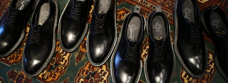 WH (ダブルエイチ) 【WH-0001】 Plane Toe Shoes (干場氏 スペシャル モデル) Cruise Last (クルーズラスト) ANNONAY Vocalou Calf Leather プレーントゥシューズ BLACK (ブラック) MADE IN JAPAN(日本製) 2018 春夏新作   【干場氏、坪内氏の直筆サイン入り】【Alto e Diritto限定 スペシャルアイテム】のイメージ
