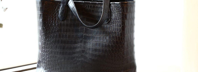 Cisei × 山本製鞄 (シセイ × 山本製鞄) Crocodile Tote Bag Medium (クロコダイル トートバッグ ミディアム) Nile Crocodile Leather (ワニ革) ナイル クロコダイル トート バッグ BLACK(ブラック),NAVY(ネイビー),BROWN(ブラウン) Made in Japan (日本製)のイメージ