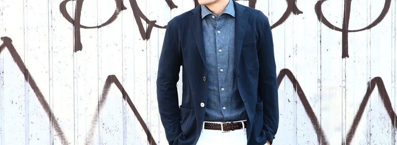 【Cruciani // クルチアーニ】 Cotton Jersey Jacket (コットンジャージージャケット) Micro Smooth Cotton マイクロスムースコットン ニット ジャケット NAVY (ネイビー・10973) made in italy (イタリア製) 2018 春夏新作のイメージ