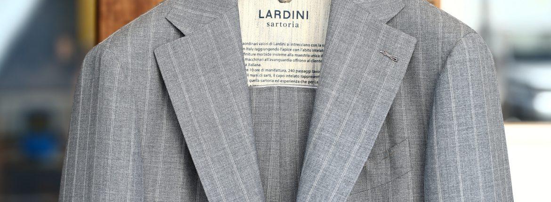 LARDINI (ラルディーニ) SARTORIA (サルトリア) トロピカル サマーウール 段返り3B ダブルピンストライプ スーツ GRAY (グレー・1) 2018 春夏新作のイメージ