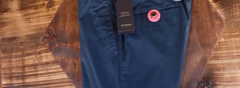 PT01 (ピーティーゼロウーノ) BUSINESS (ビジネス) SUPER SLIM FIT (スーパースリムフィット) Lux Cloth ストレッチ コットン スラックスパンツ NAVY (ネイビー・0360) 2018 春夏新作 pt01 チノ チノパン チノスラックス 愛知 名古屋 ZODIAC ゾディアック