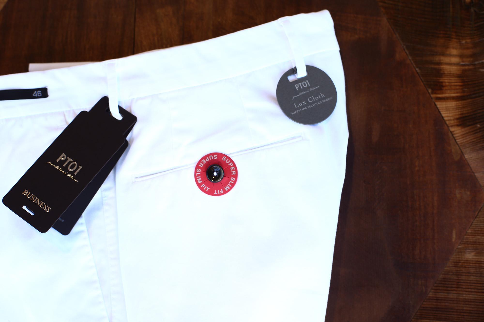 PT01 (ピーティーゼロウーノ) BUSINESS (ビジネス) SUPER SLIM FIT (スーパースリムフィット) Lux Cloth ストレッチ コットン スラックス パンツ WHITE (ホワイト・0010) 2018 春夏新作 pt01 チノ チノパン チノスラックス 愛知 名古屋 ZODIAC ゾディアック