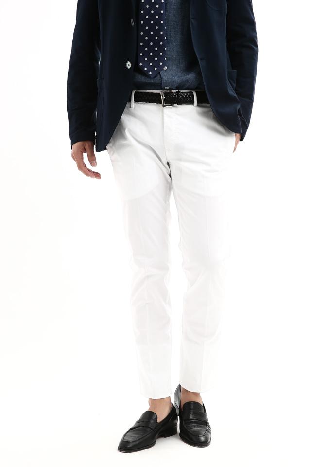 PT01 (ピーティーゼロウーノ) BUSINESS (ビジネス) SUPER SLIM FIT (スーパースリムフィット) Lux Cloth ストレッチ コットン スラックス パンツ WHITE (ホワイト・0010) 2018 春夏新作