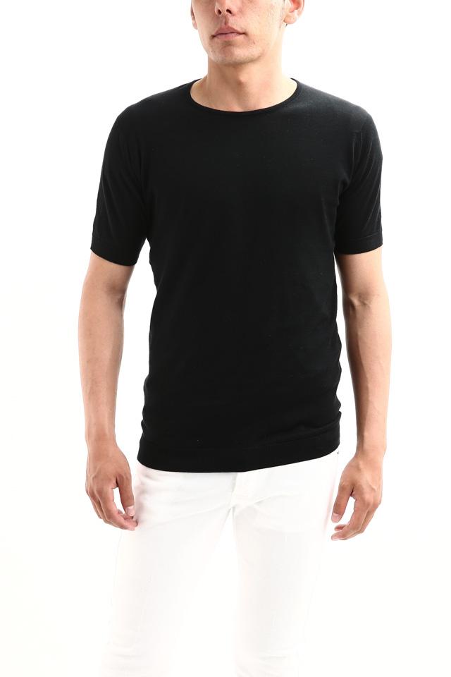 JOHN SMEDLEY (ジョンスメドレー) BELDEN (ベルデン) SEA ISLAND COTTON (シーアイランドコットン) ショートスリーブ コットンニット Tシャツ BLACK (ブラック) Made in England (イギリス製) 2018 春夏新作