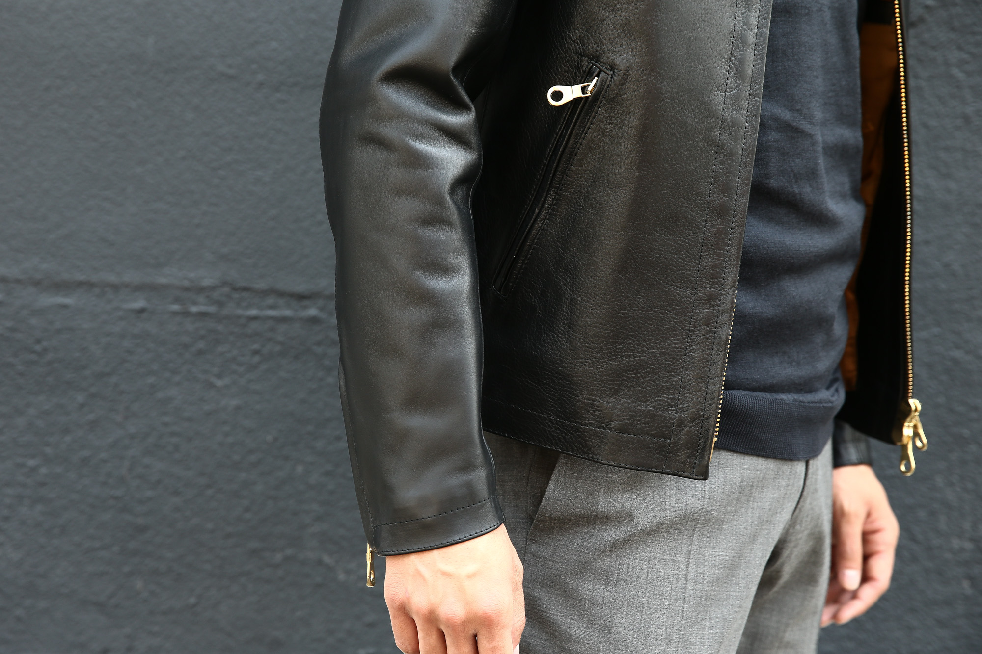 CINQUANTA(チンクアンタ) H502 STAND COLLAR RIDERS CAVALLO (スタンド カラー ジャケット) HORSE LEATHER ホースレザー シングル ライダース ジャケット BLACK (ブラック・999) Made in italy (イタリア製) 2018 秋冬 cinquanta チンクアンタ レザージャケット 愛知 名古屋 ZODIAC ゾディアック