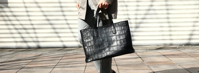 Cisei × 山本製鞄 (シセイ × 山本製鞄) Crocodile Tote Bag Large (クロコダイル トートバッグ ラージ) Large Crocodile Leather (ワニ革) ラージクロコダイル トート バッグ BLACK(ブラック),NAVY(ネイビー),BROWN(ブラウン) Made in Japan (日本製)のイメージ