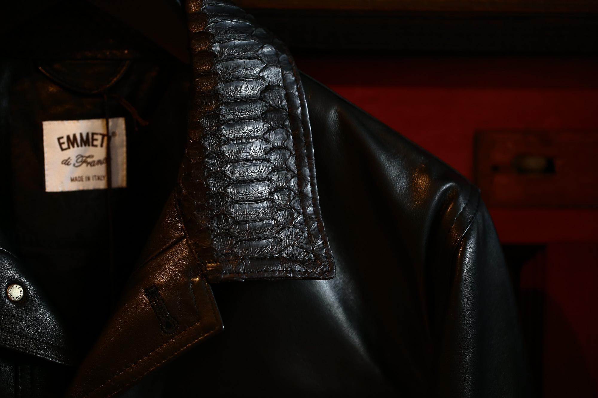 EMMETI (エンメティ) JAXON PITONE (ジャクソン ピトーネ) Lambskin Nappa Leather × Pitone Leather ラムナッパレザー × パイソンレザー ジャケット NERO (ブラック・190/1) Made in italy (イタリア製) 2018 秋冬 emmeti エンメティ レザー エキゾチックレザー パイソン ブラックパイソン 愛知 名古屋 Alto e Diritto アルト エ デリット 42,44,46,48,50,52