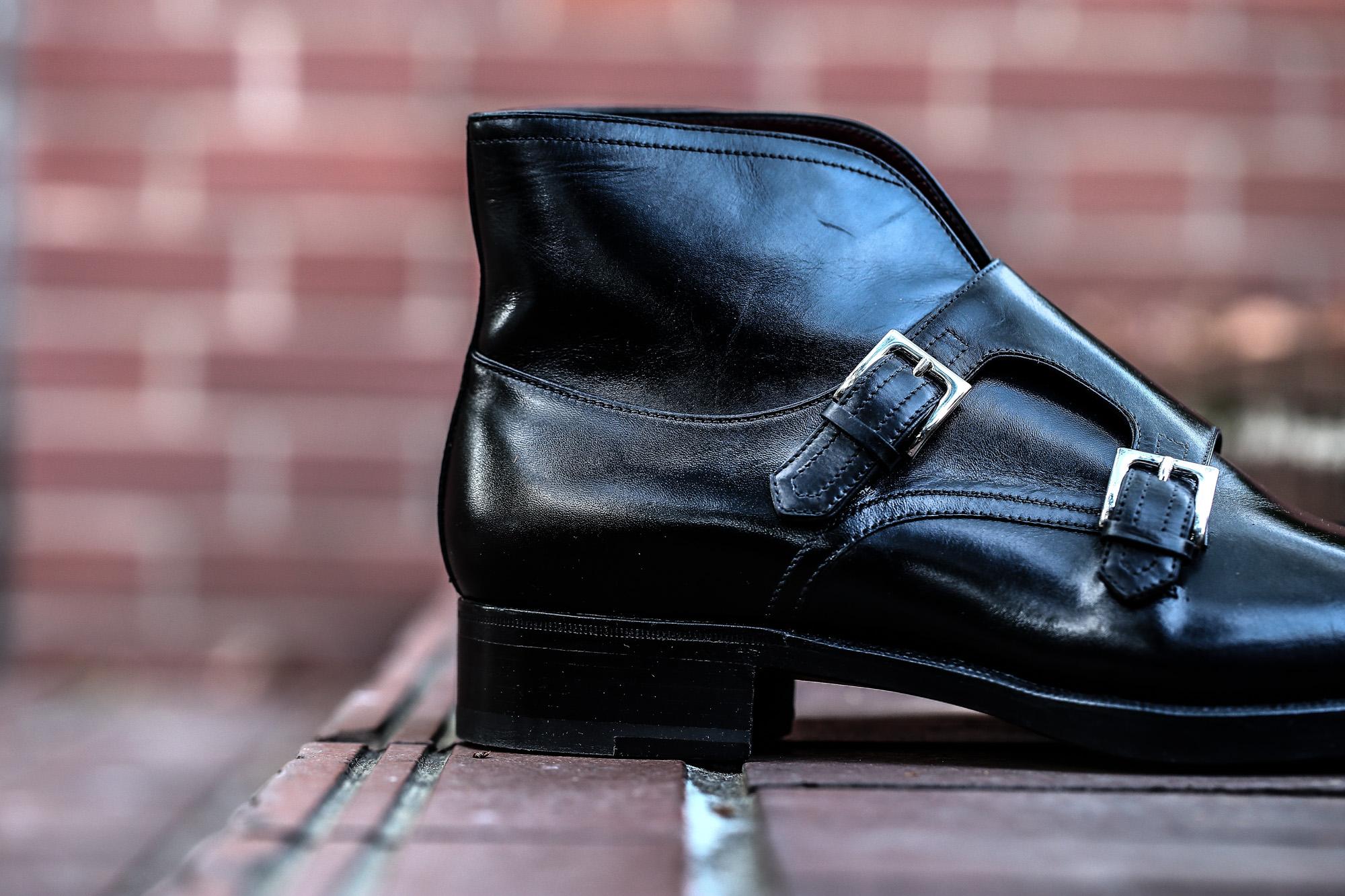 ENZO BONAFE (エンツォボナフェ) ART.EB-18 Double Monk Strap Boots Du Puy Vitello デュプイ社ボックスカーフ ダブルモンクストラップブーツ NERO (ブラック) made in italy (イタリア製) 2018 春夏新作 enzobonafe ダブルモンク ドレス ボナフェ レザーシューズ 愛知 名古屋 ZODIAC ゾディアック