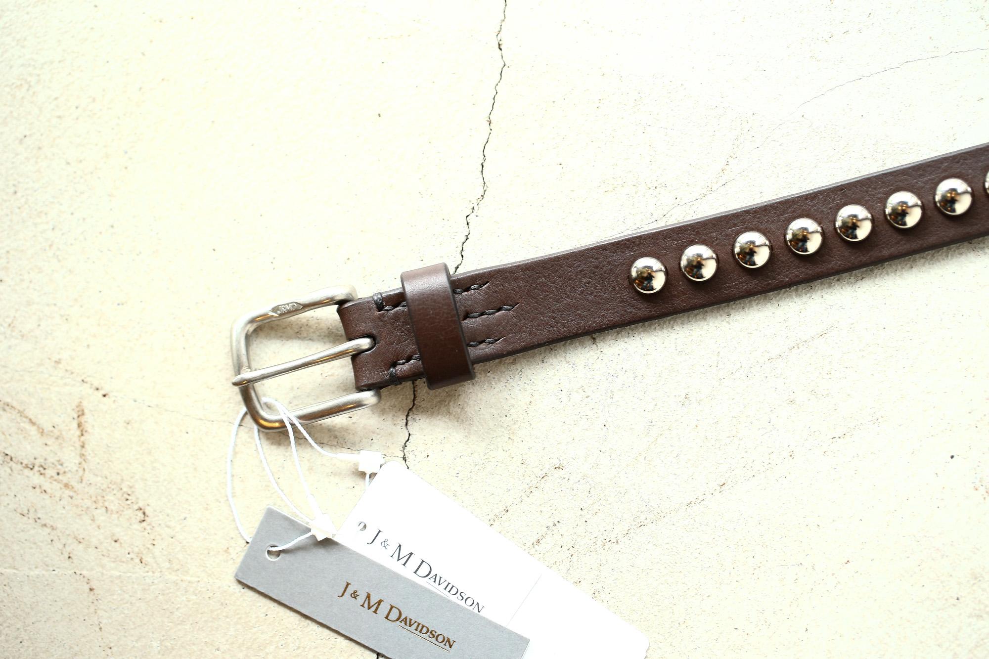 J&M DAVIDSON (ジェイアンドエムデヴィッドソン) DOME RIVETS NARROW BELT 25MM NICKEL-UNLINED (ドーム リベット ナローベルト 25mm) COWHIDE LEATHER (カウハイドレザー) スタッズベルト T.MORO (ブラウン・670) Made in italy (イタリア製) 2018 春夏新作 jandmdavidson jmdavidson 愛知 名古屋 ZODIAC ゾディアック ベルト ジェイエム