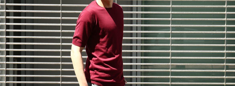 JOHN SMEDLEY (ジョンスメドレー) BELDEN (ベルデン) SEA ISLAND COTTON (シーアイランドコットン) ショートスリーブ コットンニット Tシャツ BURGUNDY GRAIN (バーガンディグレイン) Made in England (イギリス製) 2018 春夏新作のイメージ