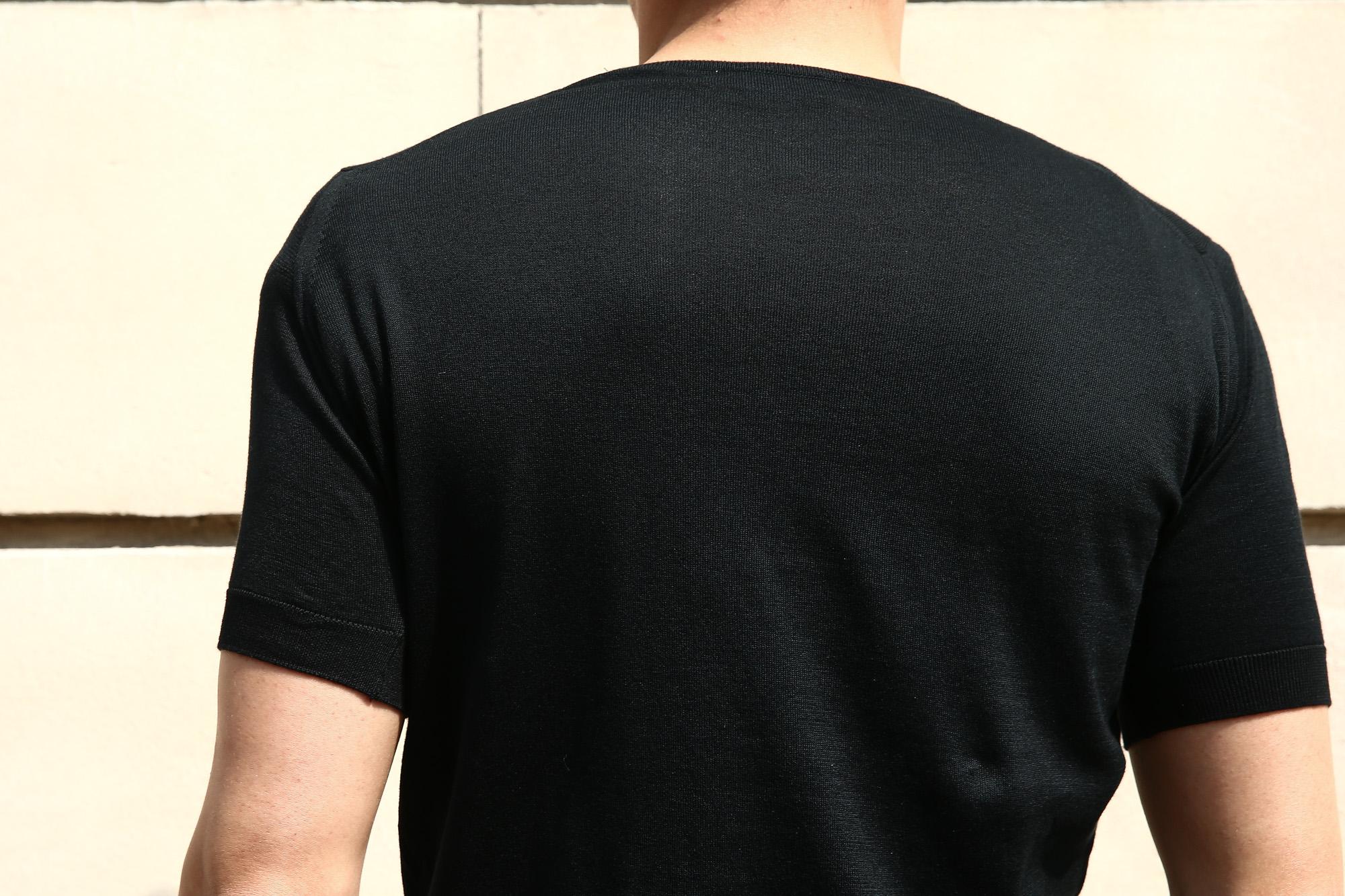 JOHN SMEDLEY (ジョンスメドレー) BELDEN (ベルデン) SEA ISLAND COTTON (シーアイランドコットン) ショートスリーブ コットンニット Tシャツ BLACK (ブラック) Made in England (イギリス製) 2018 春夏新作 johnsmedley スメドレー 愛知 名古屋 ZODIAC ゾディアック ニットTEE
